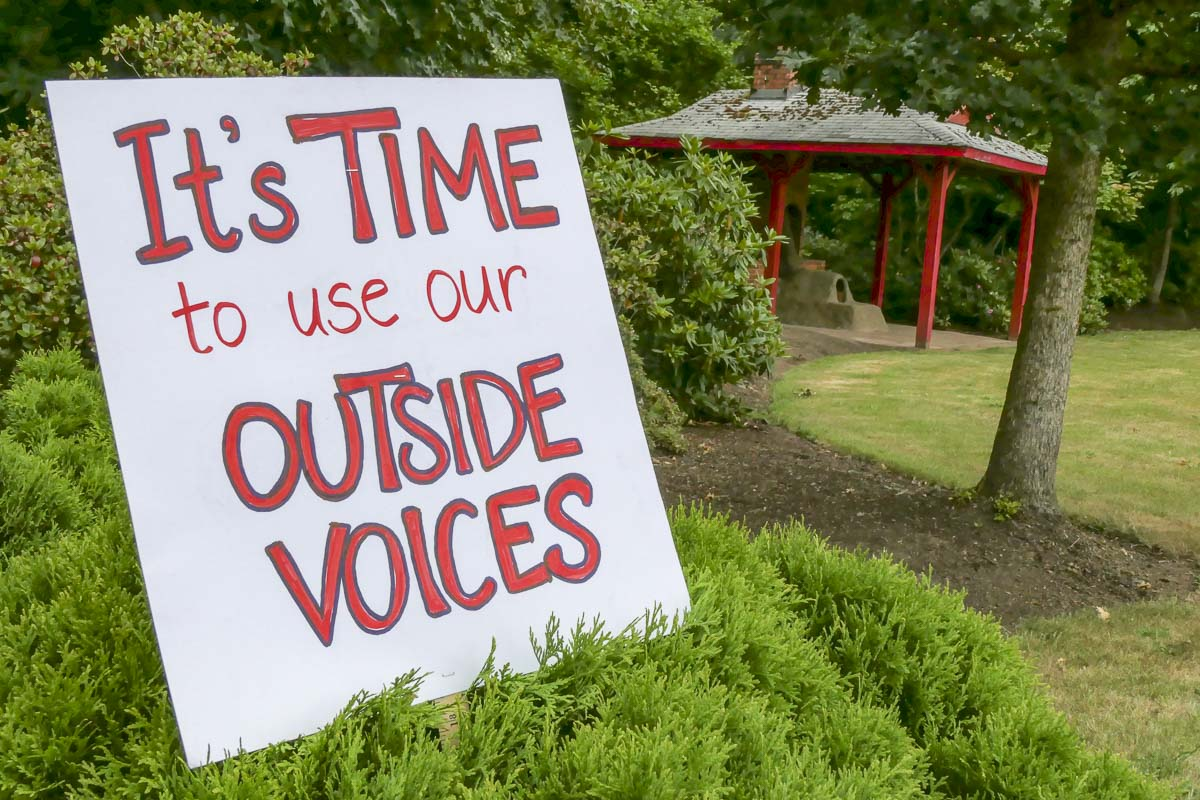 A sign supporting Battle Ground teachers at a rally in June. Photo by Chris Brown