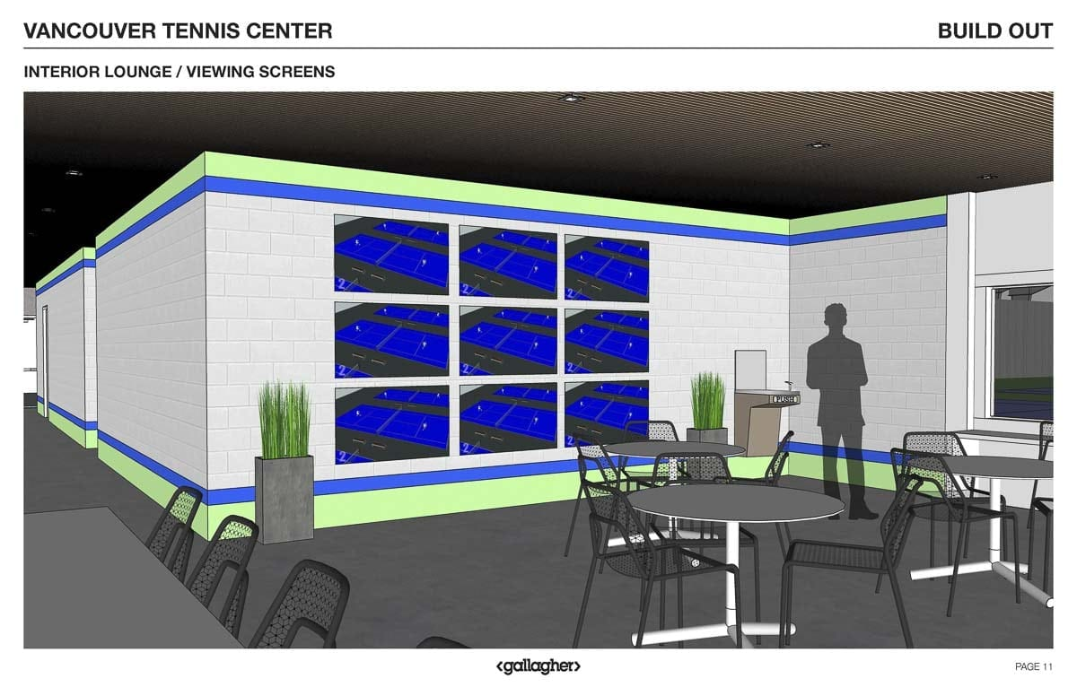 This computer generated rendering shows what the finished VTC will look like in September 2018 and onward. Features like flat-screens with live feeds of the courts, touchscreen sign-in and LED lighting are just a few of the upgrades outlined in the designs. Photos courtesy of USTA PNW