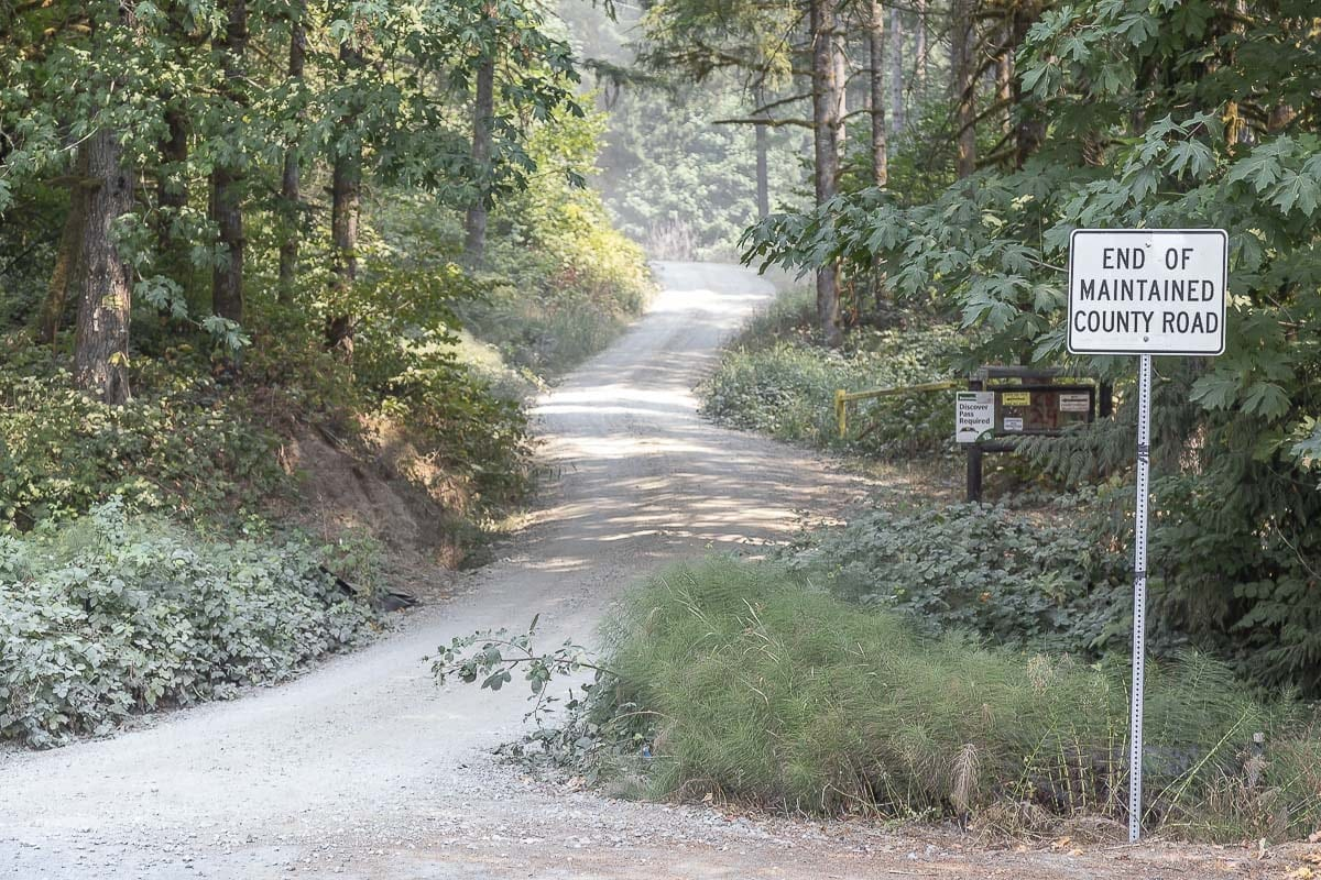 This location at the end of the paved portion of Frederickson Road in Woodland is near where the body of 51-year-old Enrique Ramirez was found by searchers Wednesday morning. Ramirez is believed to have died of natural causes while on a run near his home. Photo by Mike Schultz