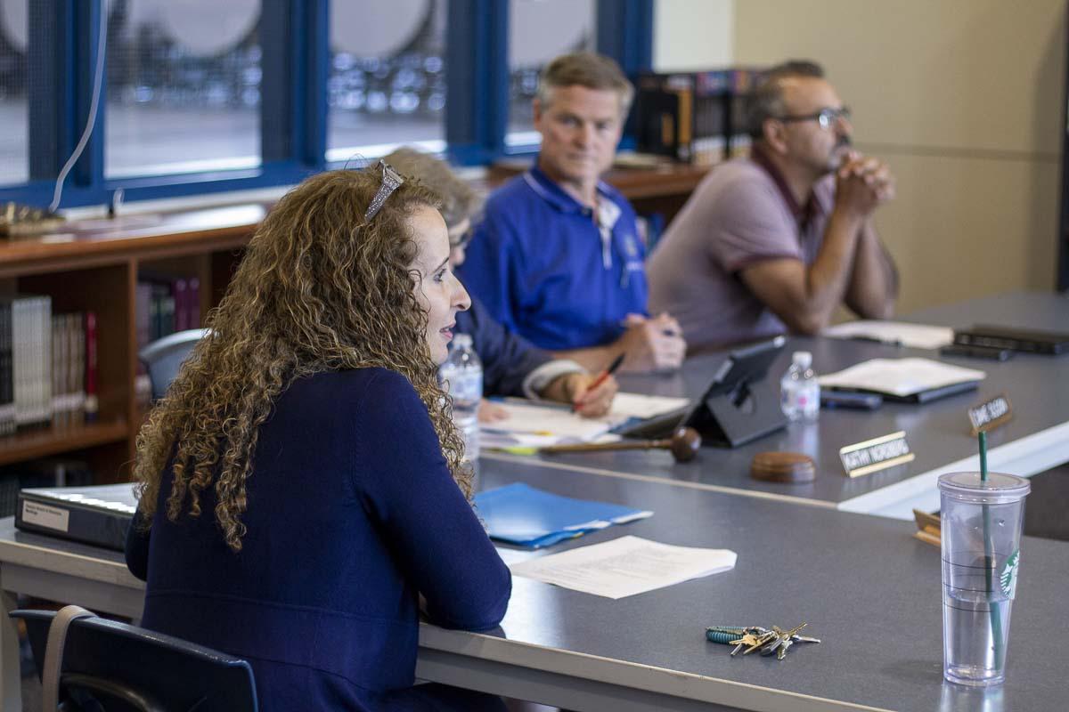 Hockinson School District Superintendent Sandra Yager listens to community testimony during Monday's school board meeting. Photo by Jacob Granneman