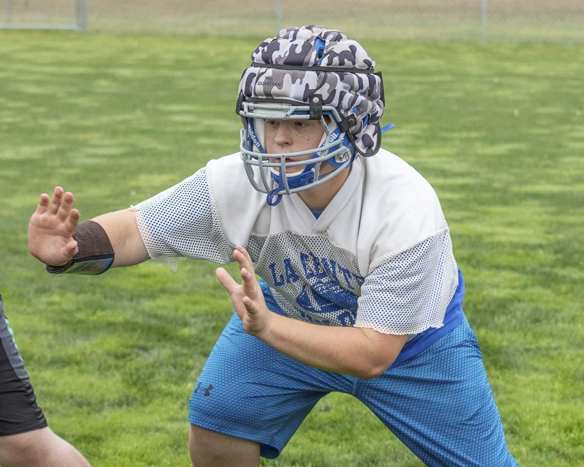 Senior Cyrus Zumstein will be one of La Center's key linemen this season. Photo by Mike Schultz