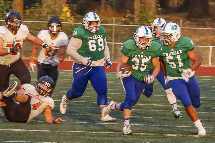 Senior Andrew Gulliford (35) is one of six Mountain View players who will be three-year starters this season. Photo by Mike Schultz