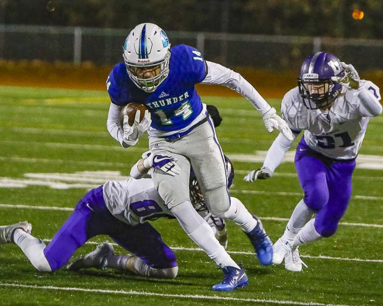 Wide receiver Makai Anderson (14) is one of the key returning players for the Mountain View Thunder in 2018. Photo by Mike Schultz