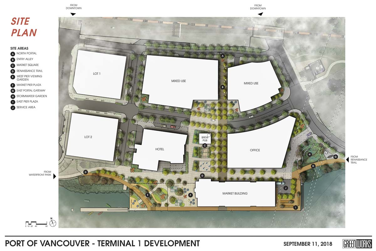 This image shows an overall view of the development sites at the Terminal 1 property. Image courtesy Port of Vancouver/Greenworks