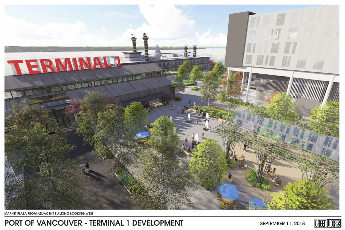 This concept shows the open public square outside the Public Market building at Terminal 1. Image courtesy Port of Vancouver/Greenworks