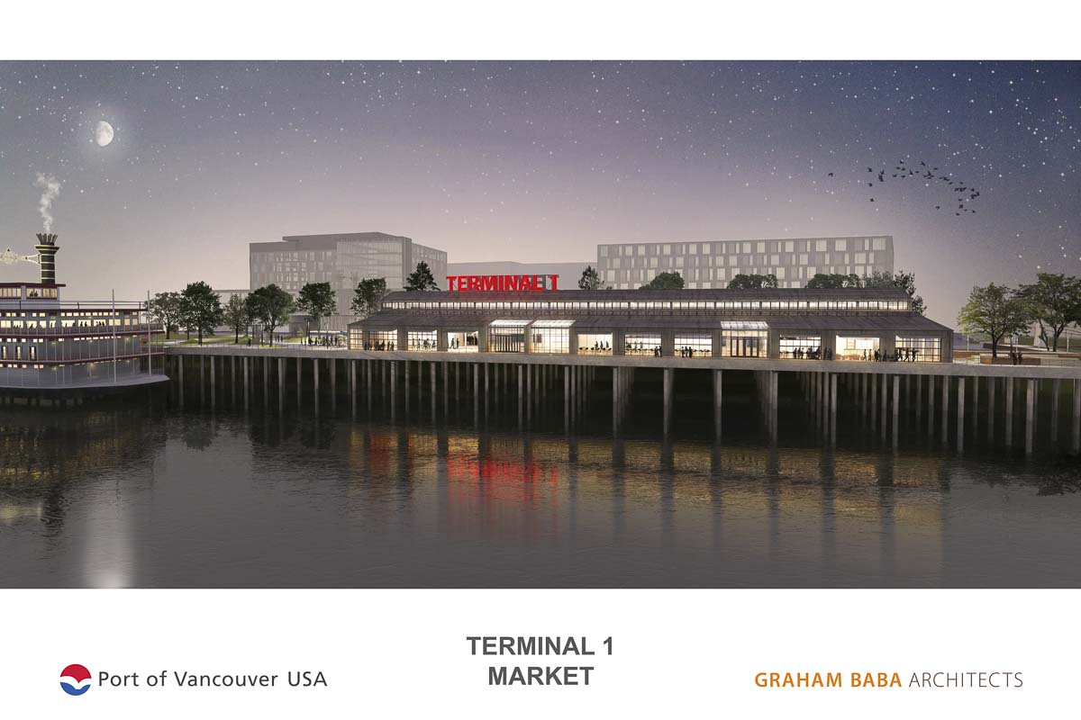 A view of what the eventual Terminal 1 Public Market building could look like from the Columbia River. Image courtesy Port of Vancouver/Graham Baba Architects