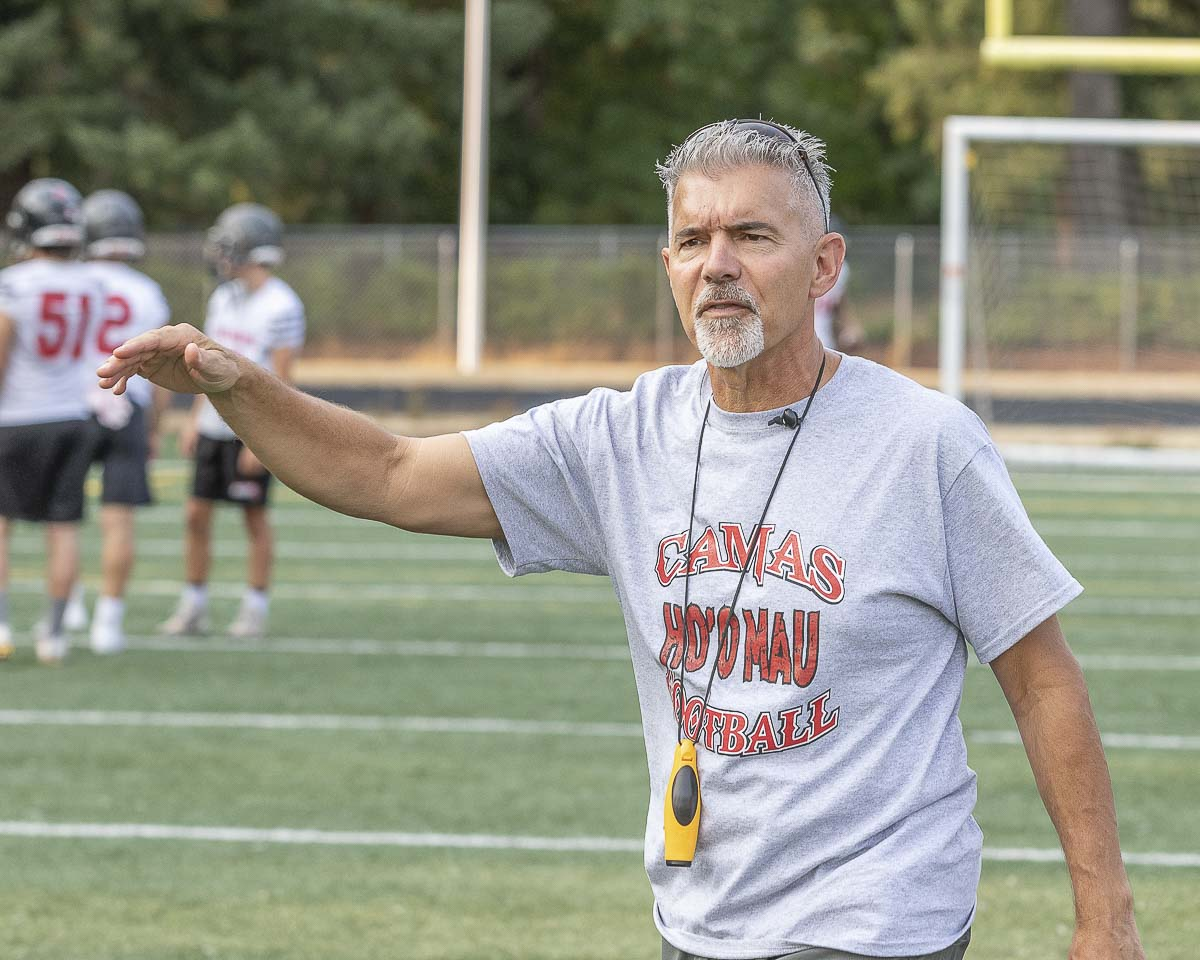 Camas coach Jon Eagle said Friday's game is a don't-miss it contest for high school football fans. State power Bellevue comes to town to take on the Papermakers. Photo by Mike Schultz