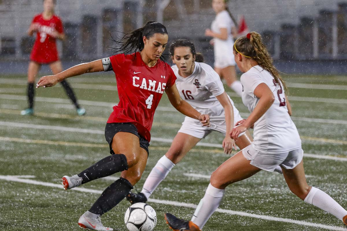 Maddie Kemp, shown here against Sherwood, Ore., on Tuesday, has scored 95 goals in her career at Camas. Photo by Mike Schultz