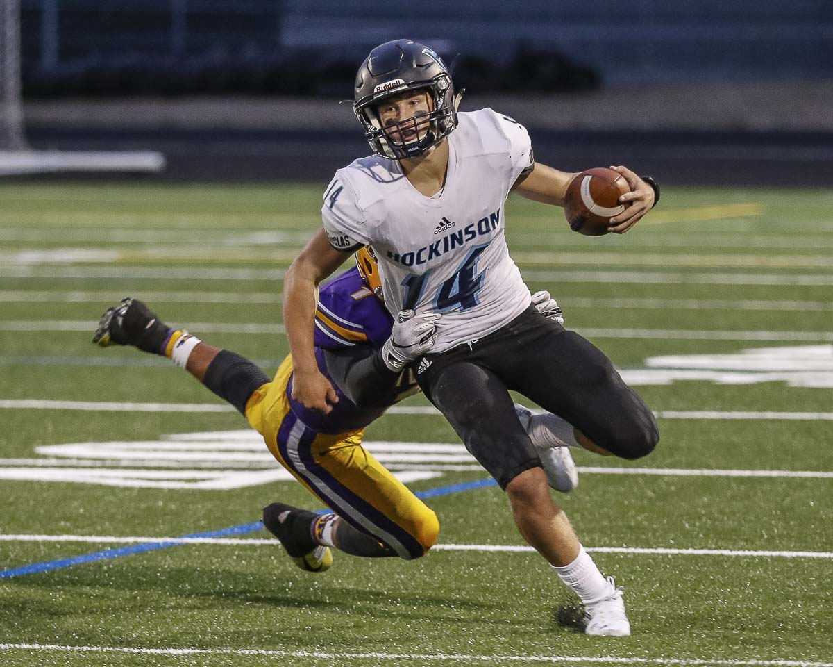 Hockinson quarterback Levi Crum has thrown for 19 touchdowns in the first four weeks, and is a threat to run. Photo by Mike Schultz