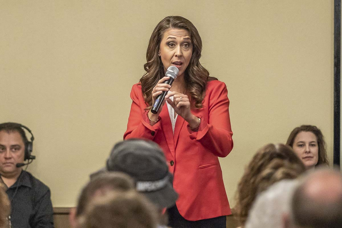 Congresswoman Jaime Herrera Beutler speaks during the 3rd congressional candidate forum hosted by the Woodland Chamber of Commerce Tuesday. Photo by Mike Schultz