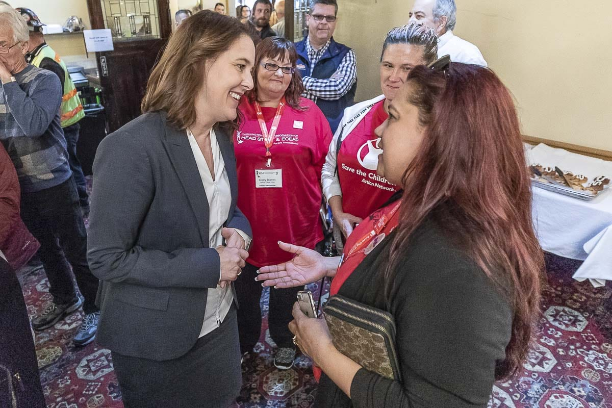 Candidate Carolyn Long meets with Claudia Franson during the 3rd congressional candidate forum hosted by the Woodland Chamber of Commerce. Photo by Mike Schultz