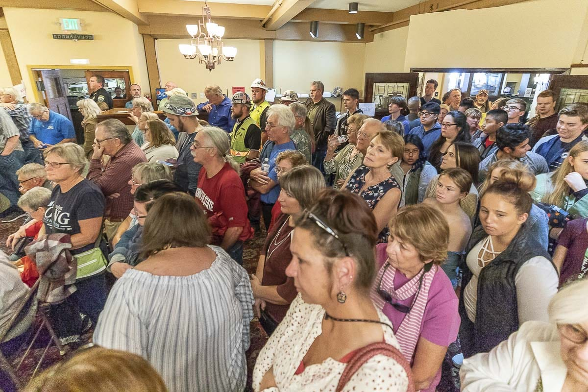 There was standing room only during the 3rd congressional candidate forum hosted by the Woodland Chamber of Commerce Tuesday. Photo by Mike Schultz