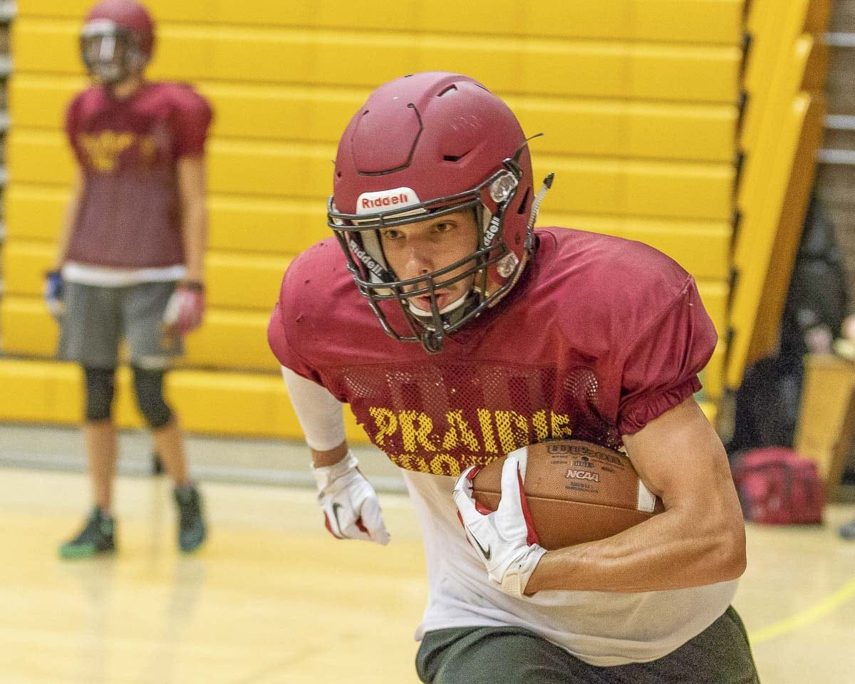 Prairie's Nolan Mickenham is having a fantastic season on both sides of the ball. He had another pick-six in Week 3. Photo by Mike Schultz