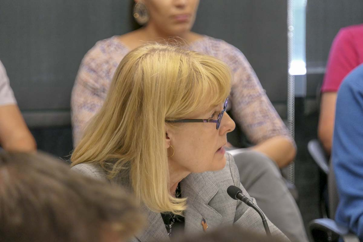 Clark County Councilor Jeanne Stewart speaks at a Regional Transportation Commission meeting. Photo by Chris Brown