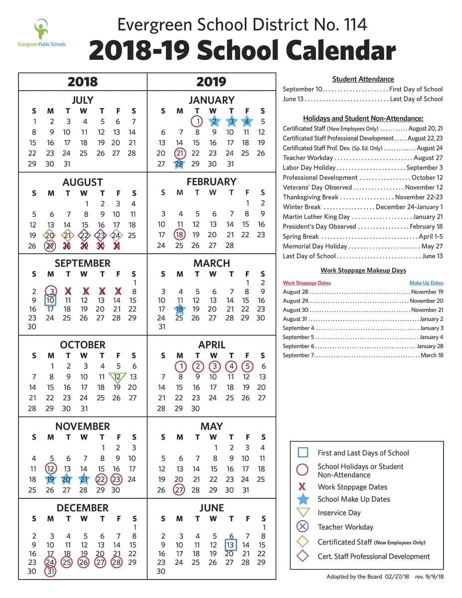 The Evergreen School District updated calendar for the 2018-2019 school year. Courtesy Evergreen School District