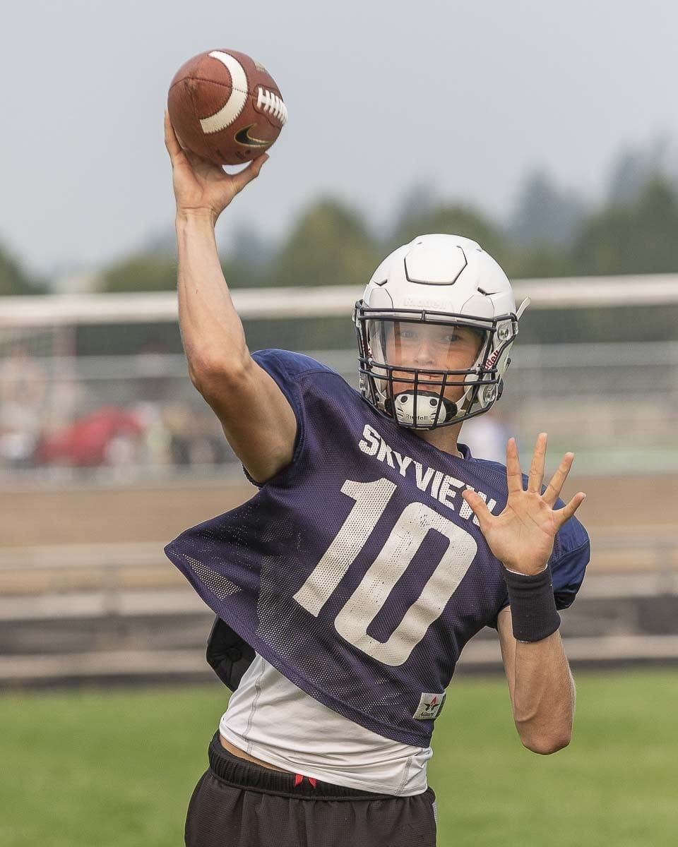 Yaroslav Duvalko threw five touchdown passes in his debut as the starting quarterback at Skyview. Photo by Mike Schultz