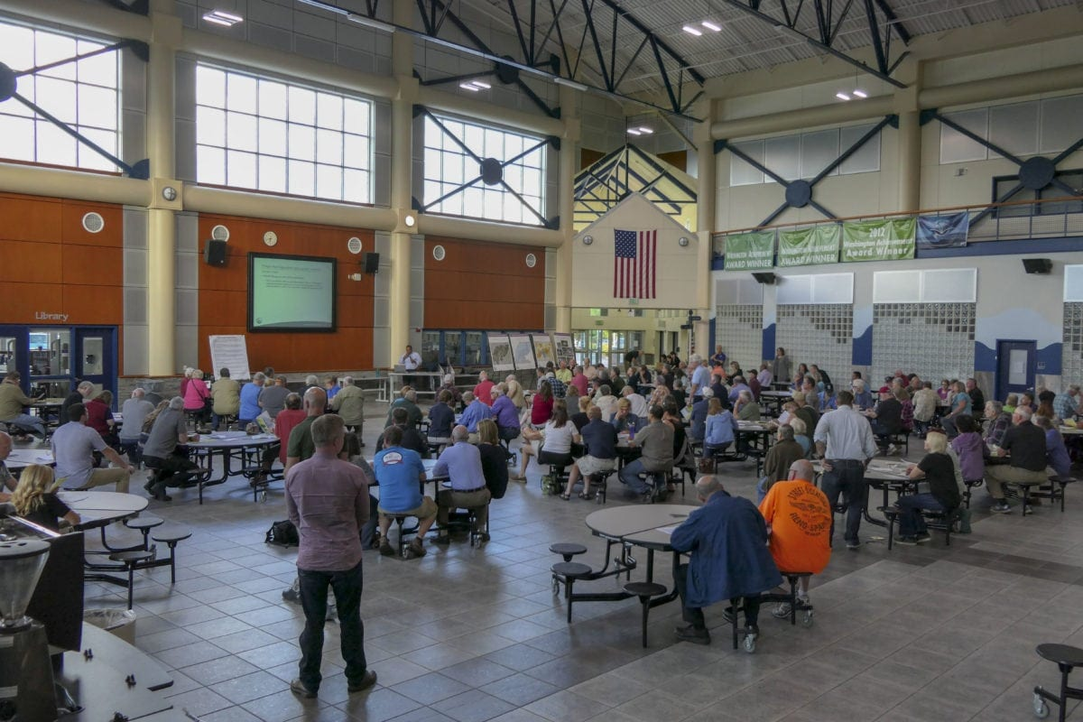 Over 100 people packed an open house at Hockinson High School to hear the county's plan for re-zoning land near Brush Prairie for freight rail dependent uses. Photo by Chris Brown