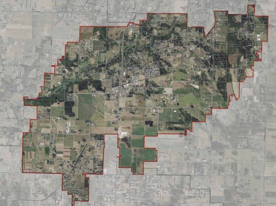 An overhead view of the proposed area Clark County is hoping to re-zone for freight rail dependent use development. Image courtesy Clark County Community Planning