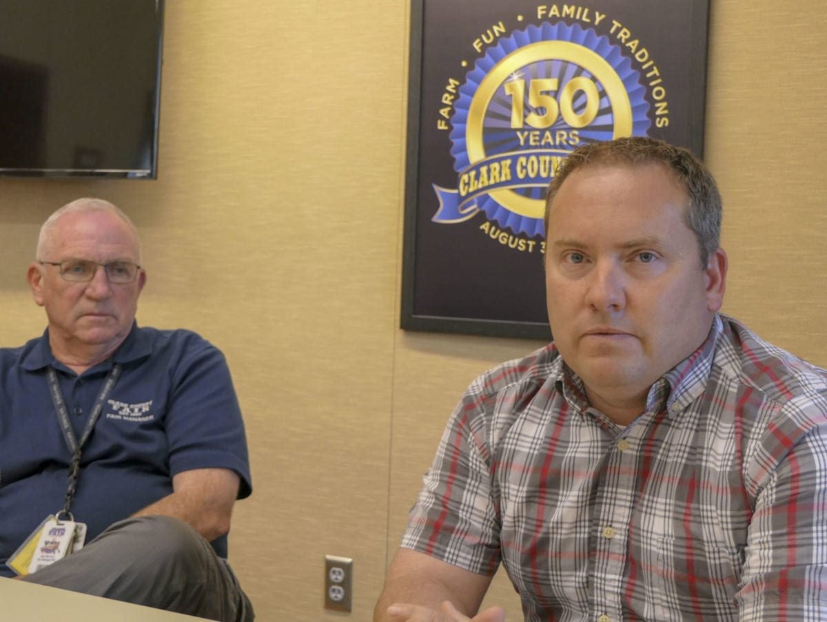 Mickey Webb (right) is taking over from John Morrison (left) as director of the Clark County Fair. Photo by Chris Brown