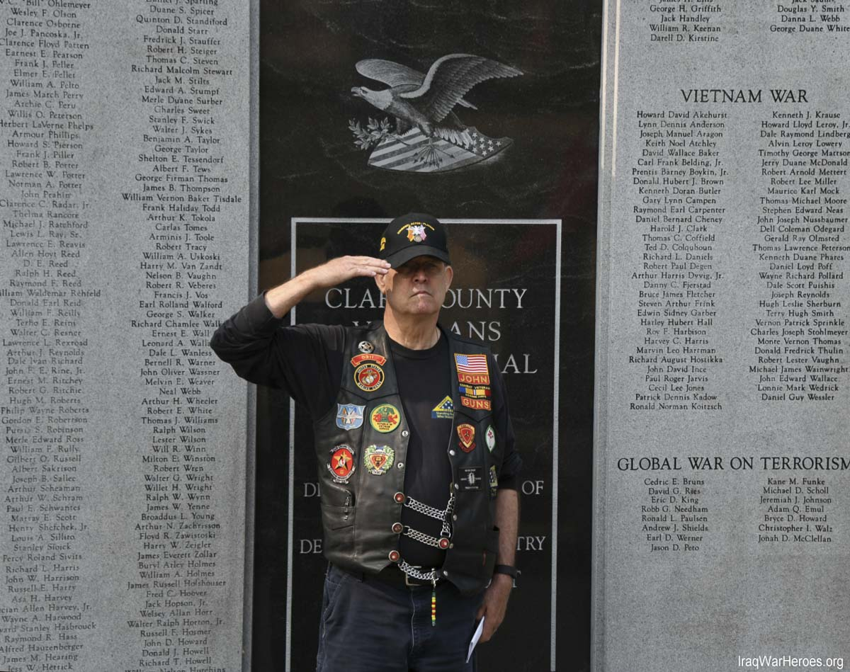 John Posey, ride captain and member of the Southwest Washington Patriot Guard Riders, at the first remembrance ceremonies for veterans recently killed in action. Photo courtesy of Q Madp