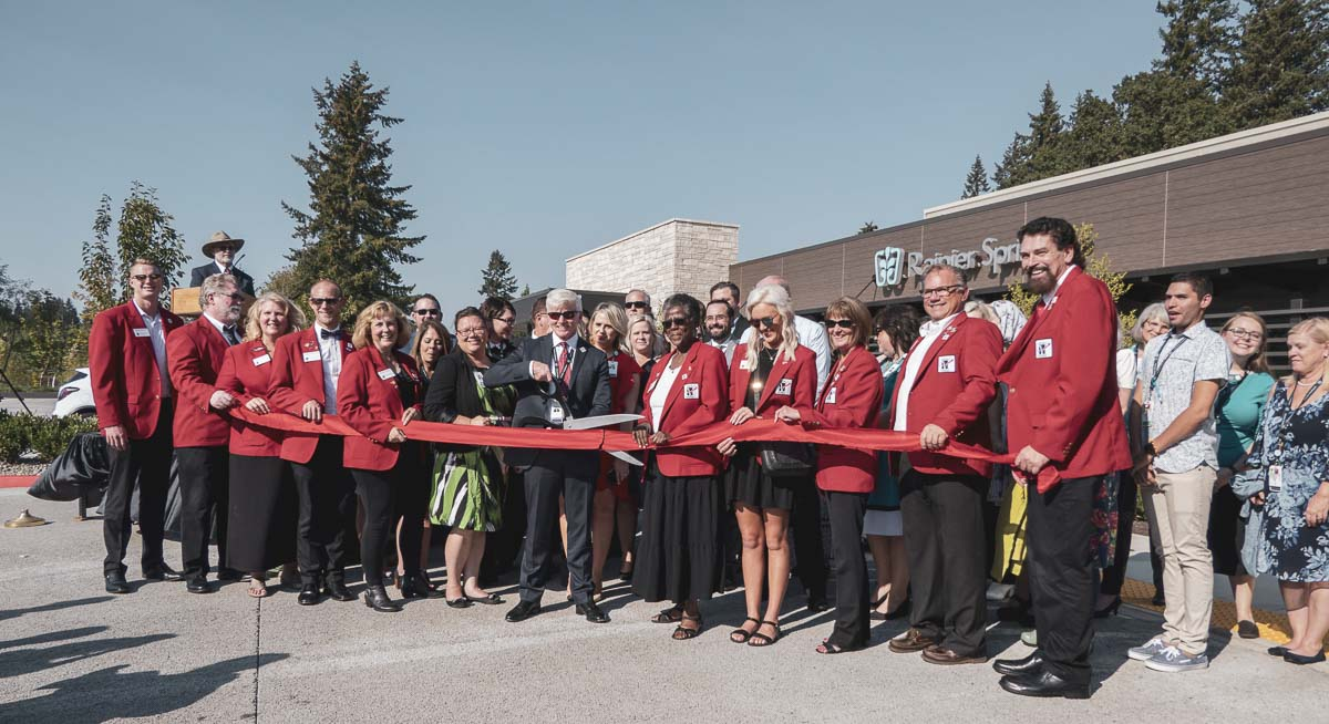 The entire staff of the Rainier Springs poses at the new facility's ribbon cutting ceremony this past Wednesday in Salmon Creek. Photo by Jacob Granneman