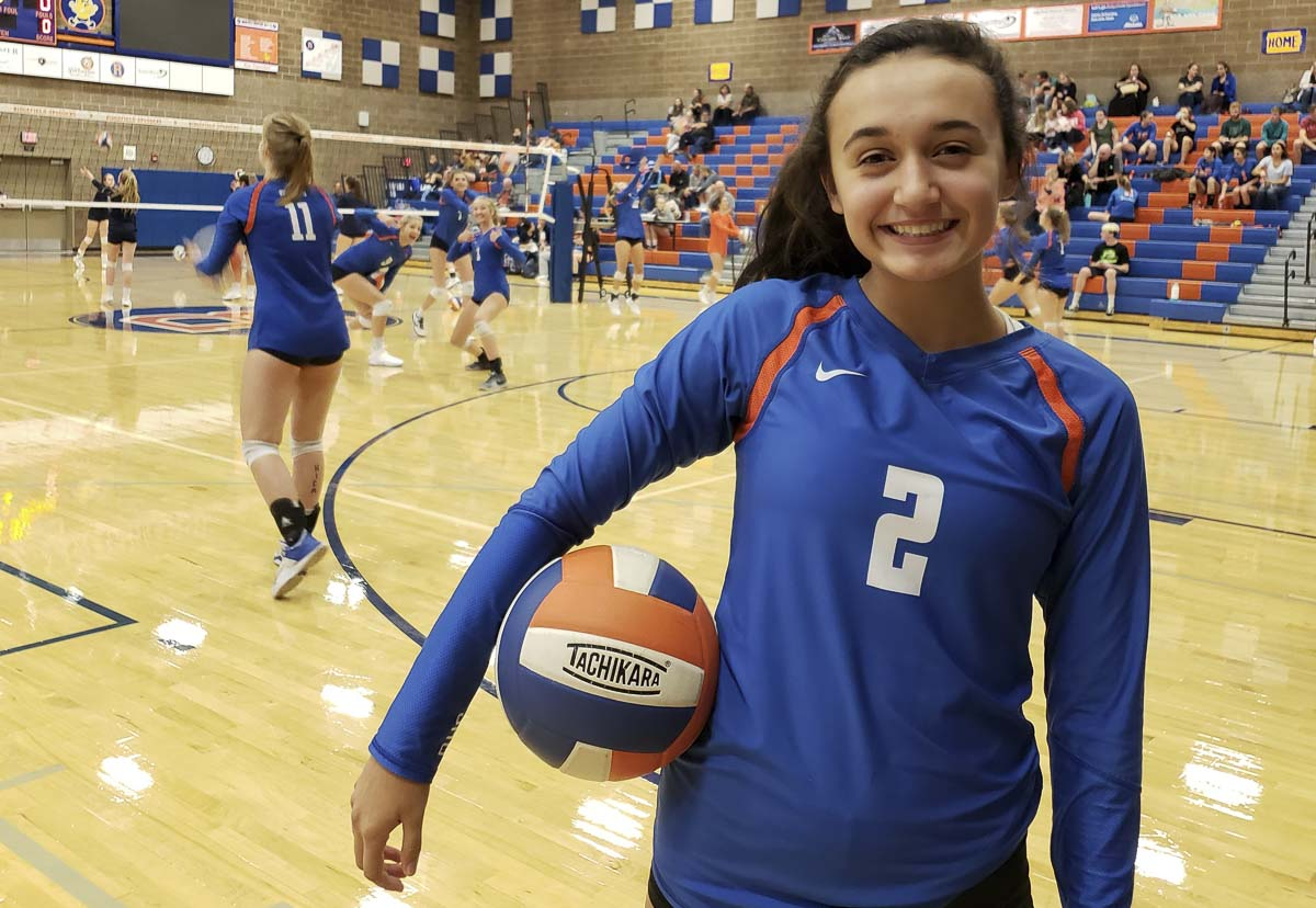 Ridgefield's Kohana Fukuchi has embraced her role as one of the captains of the Spudders volleyball team. A sophomore setter, she is proud to be on one of the best teams in the state. Photo by Paul Valencia