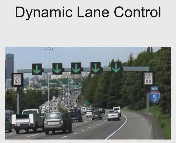 WSDOT plans to install some new active traffic management signs along I-5 from 99th street to the Interstate Bridge, similar to these in Seattle. Photo courtesy Washington Department of Transportation