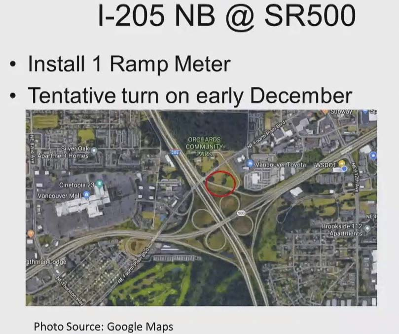 WSDOT is planning to install a new on-ramp meter at SR-500 and I-205 NB this year. Photo courtesy Washington Department of Transportation