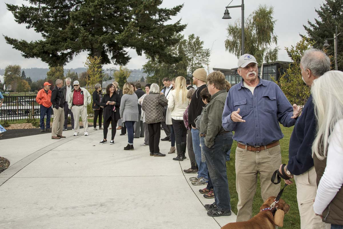 Over two-dozen people attend the dedication ceremony for Washougal's newest piece of public artwork on Wed., Oct. 24. Photo by Jacob Granneman