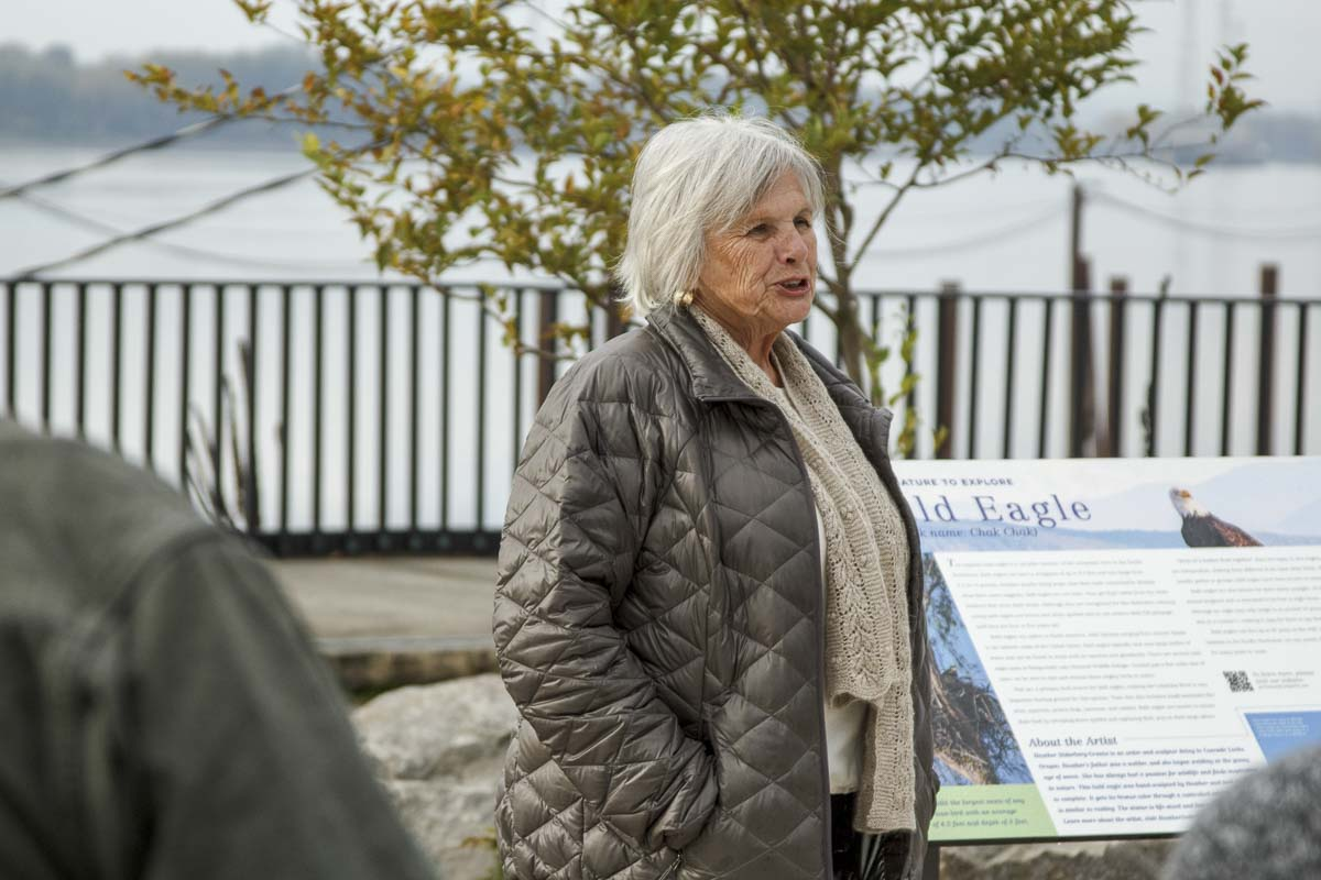 Joyce Lindsay of the Washougal Arts and Culture Alliance, speaks at the dedication ceremony for Washougal's bronze eagle statue on Oct. 24. Photo by Jacob Granneman