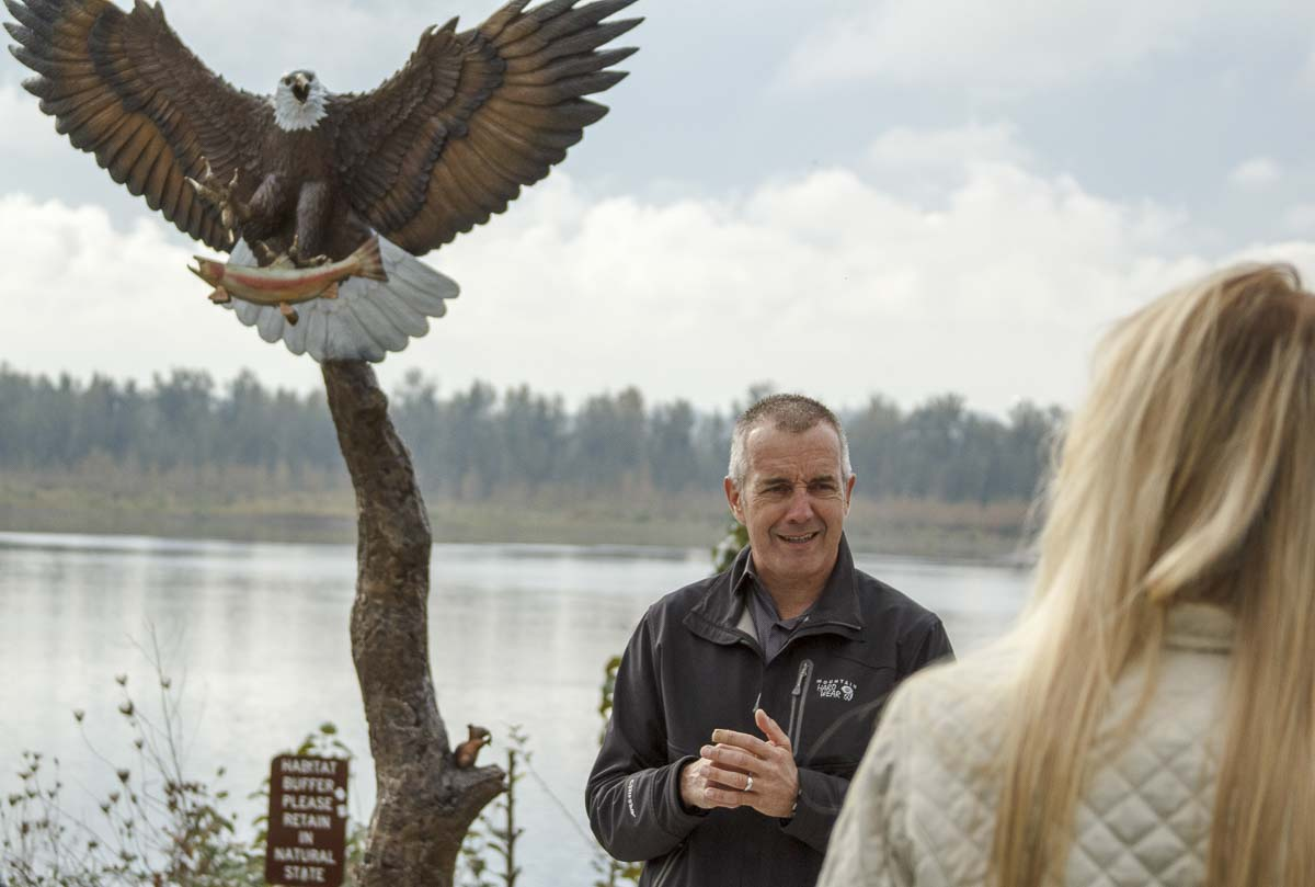 Executive director of The Port of Camas-Washougal, Dave Ripp, introduces the new bronze eagle statue at a dedication ceremony Oct. 24. Photo by Jacob Granneman