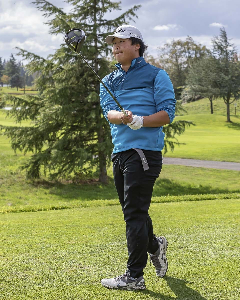 Anthony Chae finished fourth in the individual competition at the Class 4A District 4 boys golf tournament. He led the Skyview Storm to the team championship. Photo by Mike Schultz