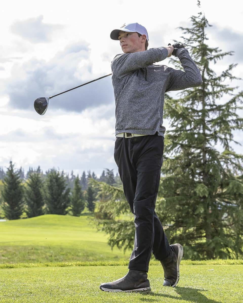 Owen Huntington of Camas would finish second in the Class 4A District 4 boys golf tournament. Photo by Mike Schultz