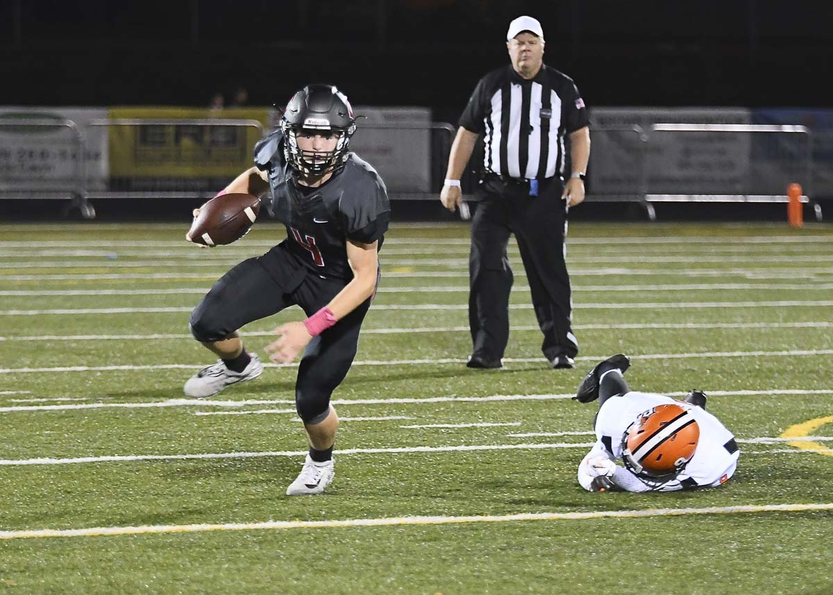 Andrew Boyle did a little bit of everything for Camas this season. Quarterback. Safety. Kicker. The senior's season came to an end after a knee injury last week. Photo by Mike Schultz