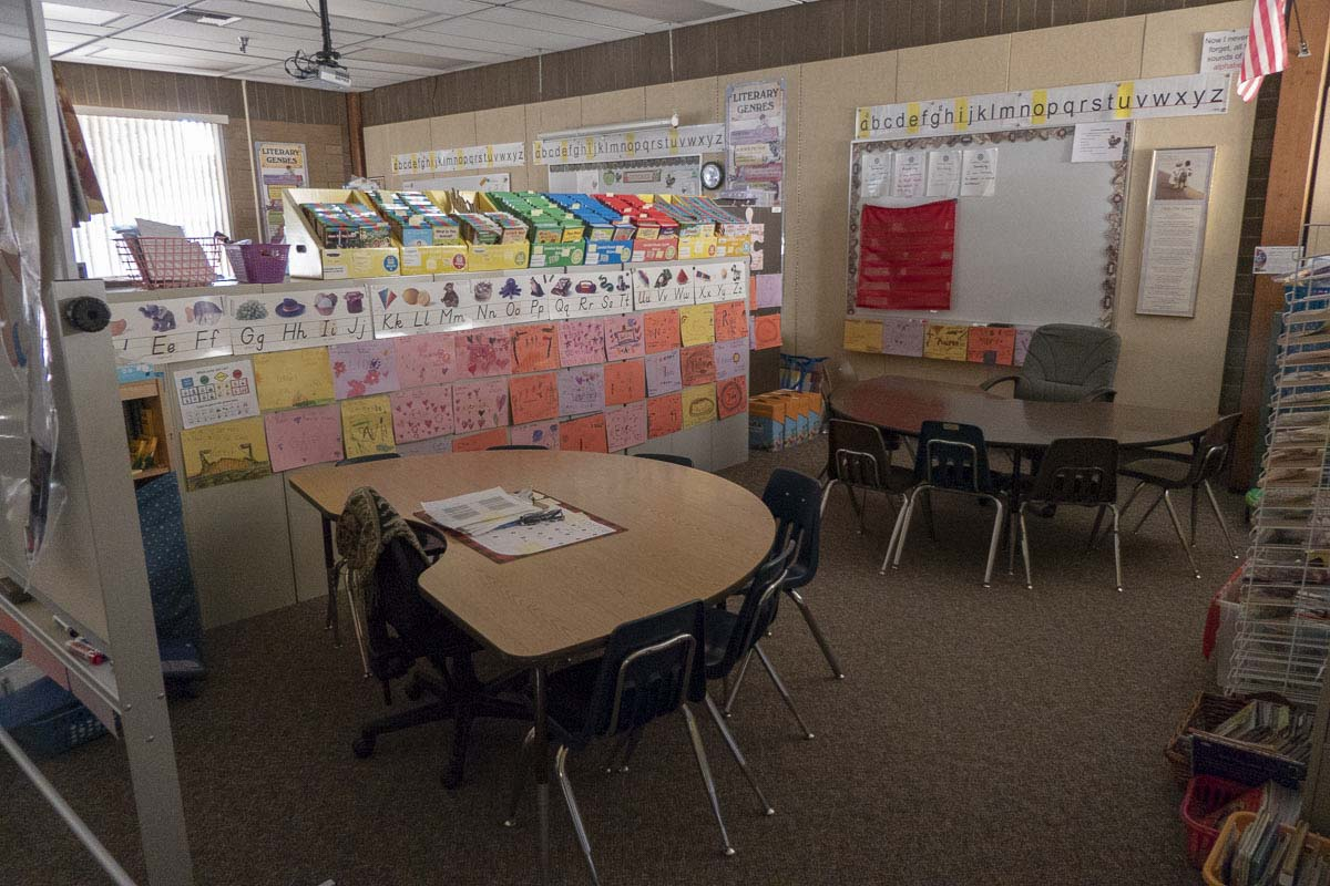 This classroom at Pleasant Valley Primary School is shared by seven teachers and more than 20 students. Photo by Chris Brown