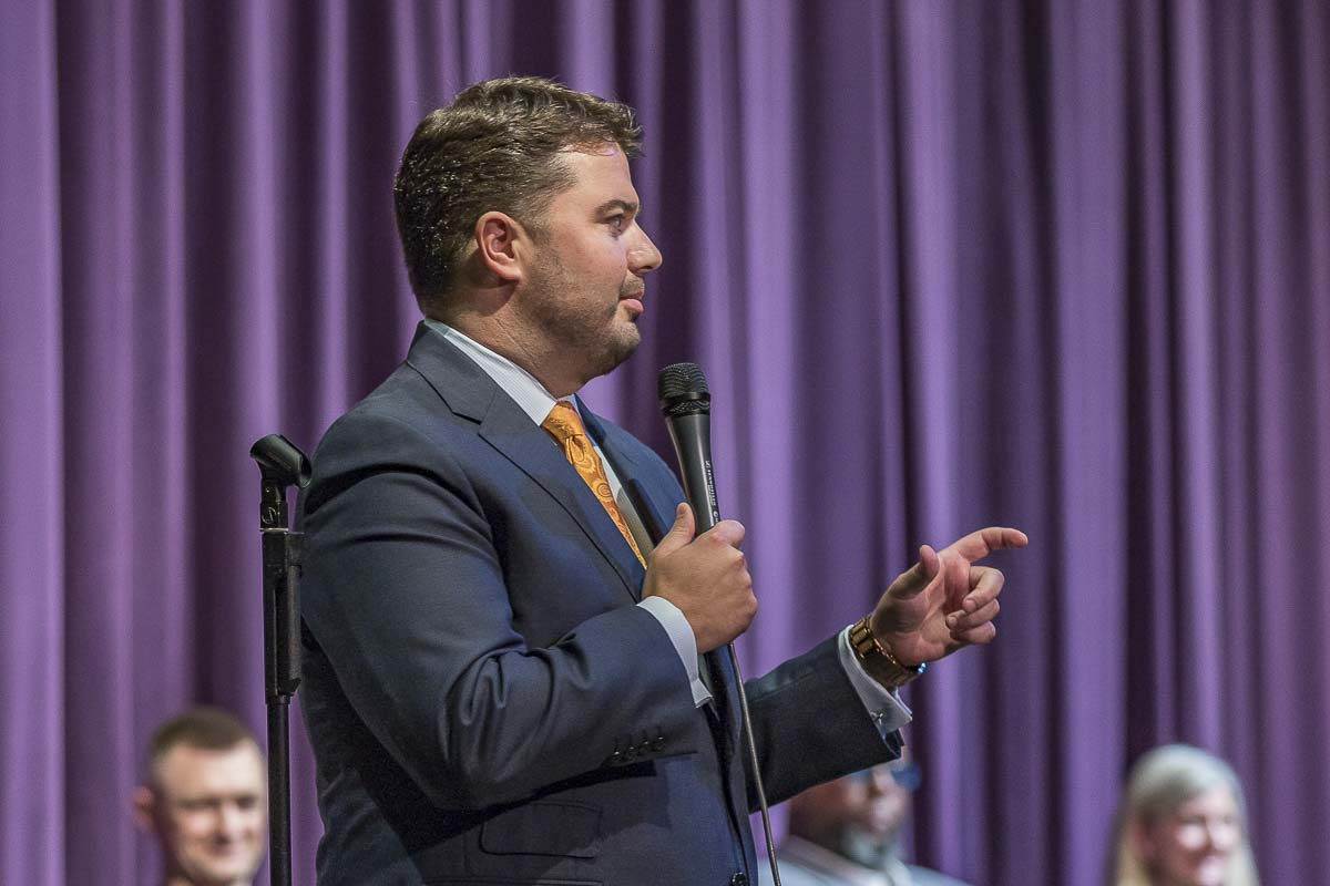 Incumbent candidate for the second position in the 18th Legislative District, Brandon Vick (R), responds to audience questions at a student-run forum at Heritage High School on Oct. 4. Photo by Mike Schultz