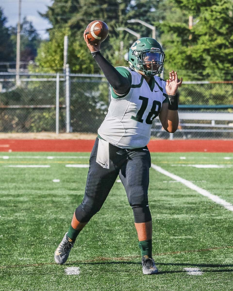 Ryan Blaize of Evergreen is back playing quarterback for the Plainsmen. He was injured a couple weeks ago, but he was eased back into the lineup as Evergreen went with a two-quarterback system to beat Fort Vancouver. Rayn Preston also played QB in Week 5. Photo by Mike Schultz