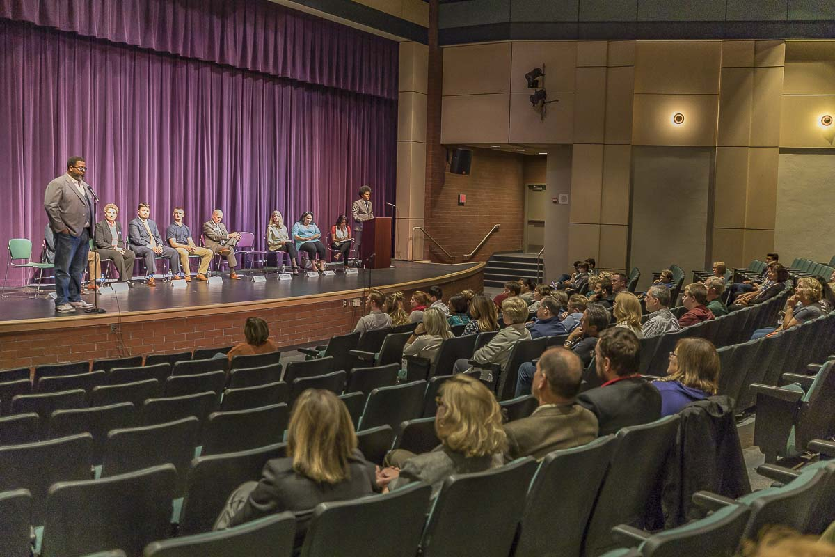 Students and community members gather in Heritage High School's auditorium to hear from local candidates in a open, public forum Thursday night. Photo by Mike Schultz