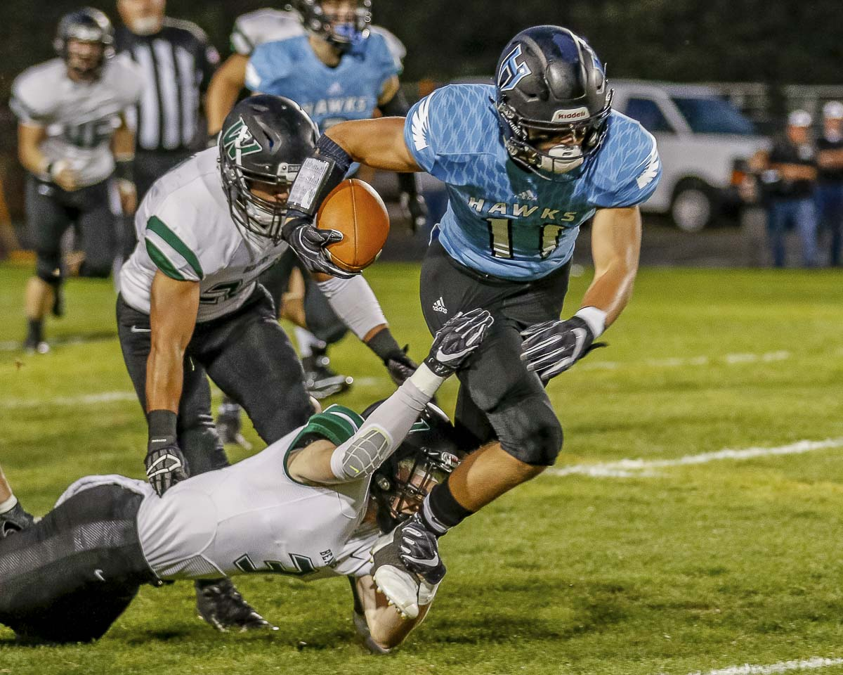 Hockinson receiver Sawyer Racanelli had 140 yards receiving and two touchdown receptions, plus a TD run in Hockinson's win over Woodland last week. Photo by Mike Schultz