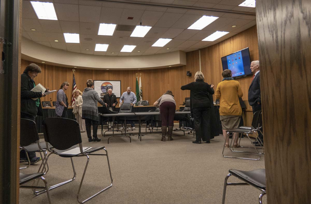 Community members and members of the Washougal City Council are shown here after a workshop in City Hall on Oct. 8. Washougal community members will be able to vote to change or maintain their Mayor-Council form of government to a Council-Manager form on Nov. 6. Photo by Jacob Granneman