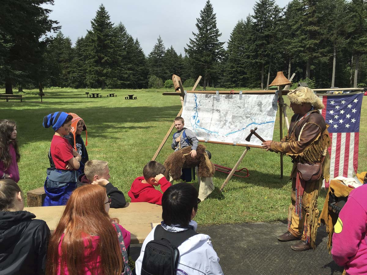 """Sixth graders from the Washougal School District are shown here participating in the Friends of the Columbia Gorge's """"Explore the Gorge'' education program, which is partially funded by the Camas-Washougal Community Chest. Photo courtesy of the Camas-Washougal Community Chest"""