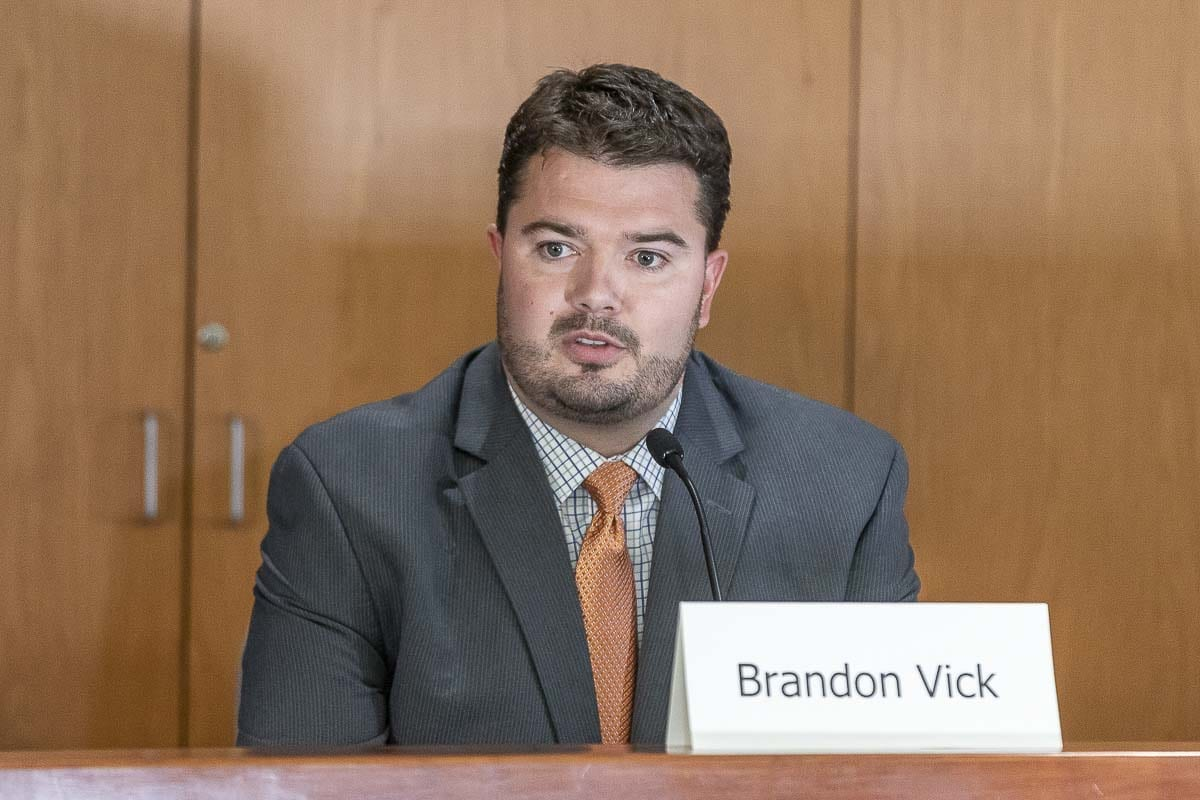 Rep. Brandon Vick of the 18th Legislative District, Position 1, answers questions at a League of Women Voters candidate forum. Photo by Mike Schultz