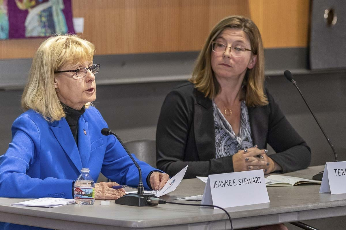 Candidates for Clark County Council District #2, (left) Jeanne E. Stewart incumbent, and (right) Temple Lentz are pictured here at a League of Women Voters forum Tuesday night. Photo by Mike Schultz