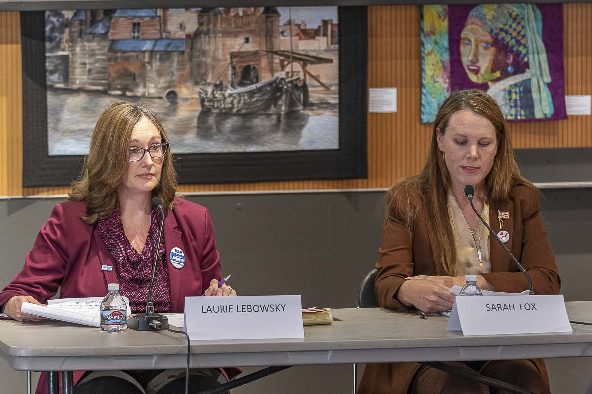 Laurie Lebowsky, (left), the incumbent candidate for Vancouver City Council Position 1, with her opponent Sarah Fox, (right), are shown here at a League of Women Voters forum last week. Photo by Mike Schultz
