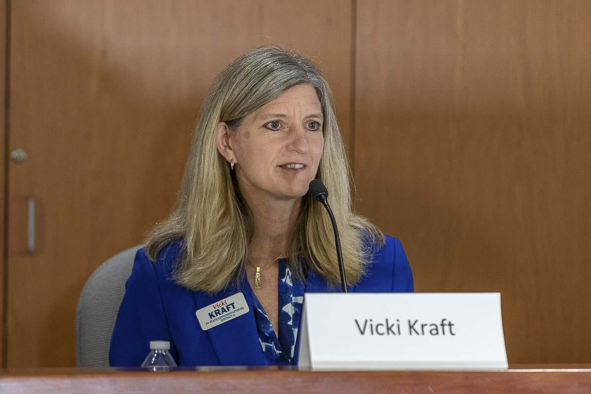 Representative Vicki Kraft of the 17th Legislative District, Position 1, at a League of Women Voters candidate forum. Photo by Mike Schultz