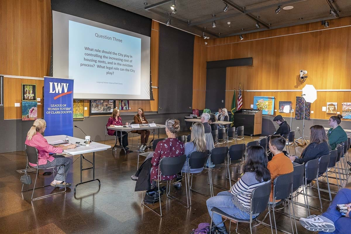 Community members hear from local candidates at the most recent League of Women Voters forum at Vancouver Community Library on Oct. 16. Photo by Mike Schultz