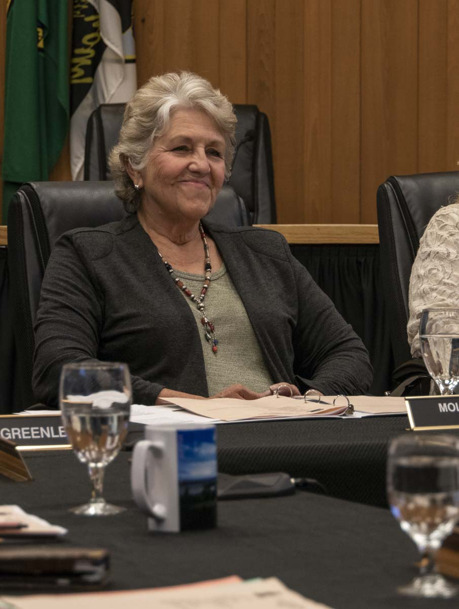Washougal Mayor Molly Coston presides over a city council workshop on Oct. 8. Photo by Jacob Granneman