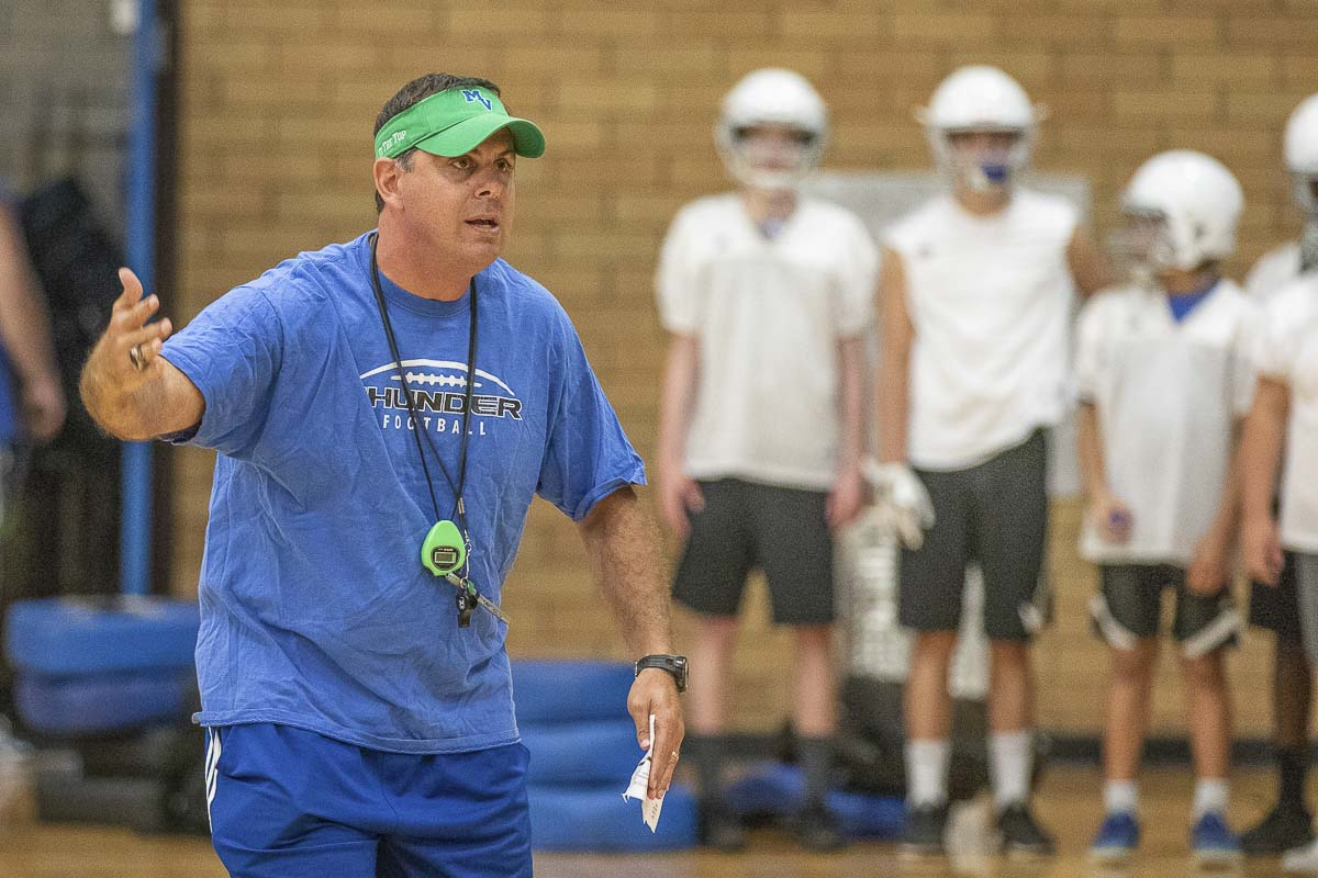 """Mountain View coach Adam Mathieson said it's """"awful"""" to be ranked so high. He was only kind of joking. His Thunder are No. 5 in the latest AP poll for Class 3A football teams. Photo by Mike Schultz"""