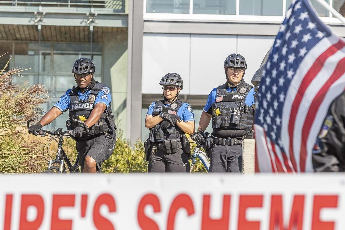 Vancouver Police Department bicycle officers at the patriot Prayer rally on Clark College's closed campus. Photo by Mike Schultz