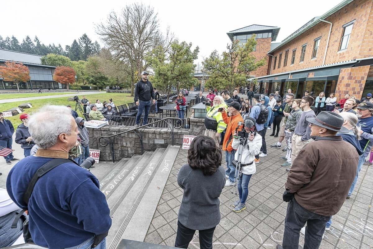 Joey Gibson addresses a group on the WSU Vancouver campus this week. Photo by Mike Schultz